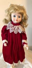 "Blonde Blue Eyed Porcelain Doll 16"" with Stand in Red Velvet Dress"