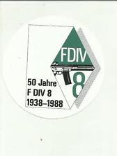 ADESIVO VINTAGE schweizer armee fdiv 1938 1988 50 jahre