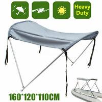 2 Bow Boat Bimini Top Canopy Cover 45''-63'' Sun UV Support Poles Clips