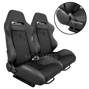 2X TANAKA BLACK PVC LEATHER & BLACK SUEDE RACING SEATS RECLINABLE FITS TOYOTA
