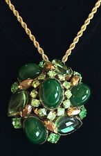 Dazzling Vintage Schreiner N.Y Pendant~Green Glass/Gold Tone~Signed~Chain Incl.