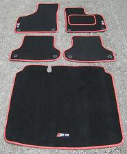 Tappetini Auto in nero/Rosso finitura per adatti a Audi S3 8P 06-12 + S3 Logo+