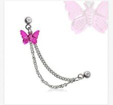 316L Double Chained Cartilage Earring with Hot Pink Butterfly Dangle 16g