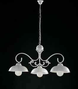 Chandelier BAR Barbell Wrought Iron White Shabby Chic 3 Lights Lgt Dome