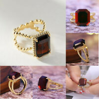 New Elegant Wedding Garnet Gifts Jewelry Size 6-10 Rings Women for