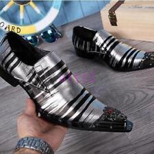 New Men's Genuine Leather Dress Business Pointed Metal Toe Formal Wedding Shoes