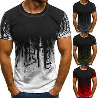 Hommes Coupe Slim O Manches Courtes Col Muscle T-Shirt Imprimé Décontracté