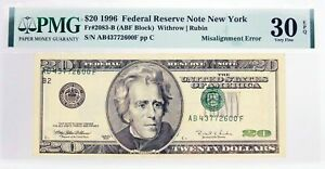Series Of 1996 $20 FRN New York Fr#2083-B Misalignment Error Note PMG VF30 EPQ