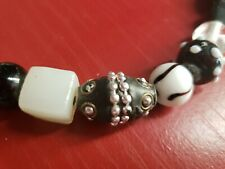 """Venetian Trade Beads? Black & White Necklace Decorated Glass Various Shapes 26"""""""