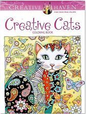 CAT ADULT COLOURING BOOK - Creative Cats Stress Relief Colour in kids pencils