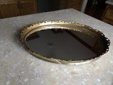 "New ListingVintage Oval Gold or Brass Dresser Perfume Vanity Mirror Tray 16"" x 12"""