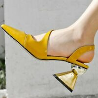 6d4e59d830d Fashion Women Pointed Toe Block High Heels Sandals Patent Leather Shoes Big  Size