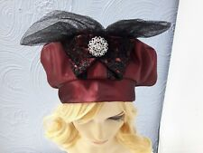 vintage inspired 50s 60s ladies hat French Beret one size with bow & brooch/////