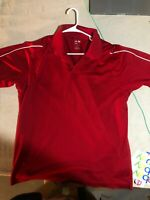 ADIDAS CLIMALITE SHORT SLEEVE RED SOLID GOLF POLO SHIRT MENS LARGE FREE SHIP