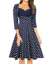 US HiQueen 50'S 60'S ROCKABILLY Vintage Flare Swing Pinup Housewife Party Dress
