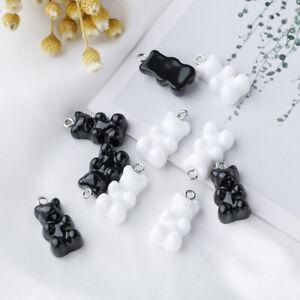 10Pcs White&Black Resin Bear Charm Pendant DIY Earring Necklace Bracelet Jewelry