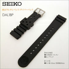 Genuine SEIKO 22mm DAL1BP Rubber Divers Watch Strap Straight Expansion Ribs NEW