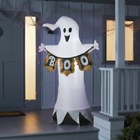 6' LED Light-Up Ghost With Boo Sign Airblown Inflatable Halloween Yard Decor