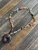 """Divali Glass Jewelry Handmade Necklace in Multi color Red 18"""" Whimsical Lampwork"""