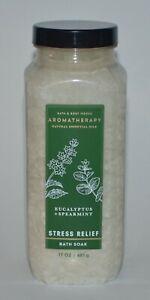1 BATH BODY WORKS AROMATHERAPY STRESS RELIEF EUCALYPTUS SPEARMINT SOAK SALT FIZZ