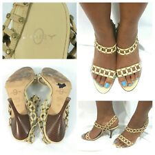 JOIE Shoes Heels Sandals Open Toe Slingback Leather Fabric Studded Beige Size 7M