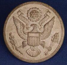 US Military Eagle Emblem Button 28mm Bakelite Button Brown Vintage *[12880]
