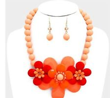Red Peach Big Flower Bead Pearl Chunky Jewelry Necklace Set