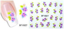 Nail Art Water Transfer Sticker Decal Stickers Pretty Flowers Pink Blue Xf1025