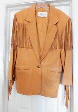 efb29dac8ab6 LA NOUVELLE RENAISSANCE Leather Fringed Western Jacket Cowhide Tan Women's  M VTG