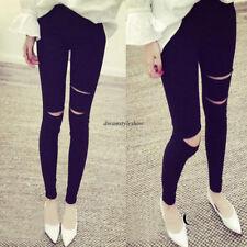 Korean Women Casual Hole Feet Slim Skinny Pencil Stretch Pants Trousers Black L