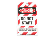 Durable Plastic Safety Tag - DANGER DO NOT START Self Adhesive Overlay