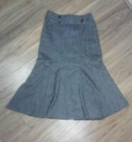 NEXT Grey Wool Fit Flare Long Womens Ladies Panel Skirt Work Smart Lined Size 8