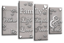 Family Love Quote Art Picture Powder Grey Home Canvas Wall Print 44""