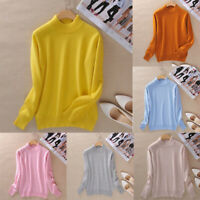 Women's Cashmere wool Slim Knitted Half-Turtleneck Jumper Pullover Soft Sweater