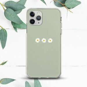 Cute Minimalist Daisy Flowers Green Case For iPhone 7 8 X SE 11 12 13 Pro Max XR