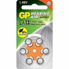 GP Hearing Aid Battery Zinc Air Za13 (pr48 Ac13 Da13) X 6 Pcs Made in UK