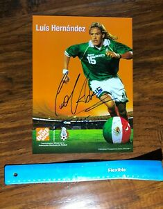 """MEXICO LEGEND LUIS """"EL MATADOR"""" HERNANDEZ SIGNED SOCCER PHOTO LA GALAXY"""