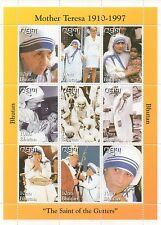 MOTHER TERESA PRINCESS DIANA THE POPE BHUTAN MNH STAMP SHEETLET