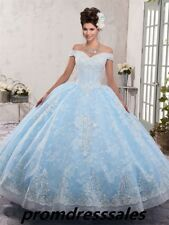 New Applique Bead Off Shoulder Quinceanera Ball Gown Party Pageant Wedding Dress