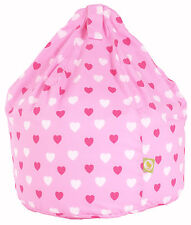 Child Size Pink Hearts Bean Bag With Beans By BeanLazy