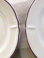 "2 Comptoir De Famille Peint Main 10"" Dinner Plates Fluted Edge Purple Stripe"