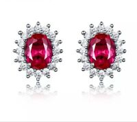 925 Sterling Silver Oval Red Ruby Round Diamond Accents Stud Earrings