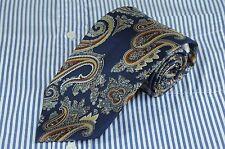 Berman - Bach Men's Blue Brown & Gray Paisley Printed Silk Necktie
