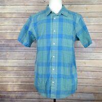 Patagonia Organic Cotton Large Plaid Short Sleeve Button Blue Green Shirt