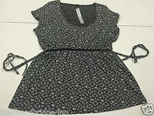 per Una Size 18 Grey Floral Ladies Cap Sleeve Top (original ) 8h