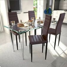 vidaXL Set 4 sedie tavolo da pranzo marrone linea sottile con 1 tavolo vetro