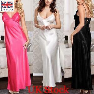 UK Womens Lace Satin Silk Long Nightdress Ladies Lingerie Sleepwear Sexy Pajamas