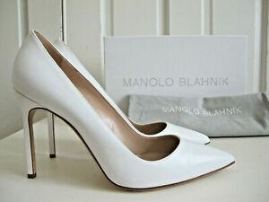 NIB $665 Manolo Blahnik BB 105 Pumps Shoes Heels White Calf Leather sz 39.5 US 9