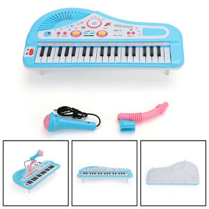 37 Keys Electronic Keyboard Music Kid Electric Piano + Mic & Adapter Blue US