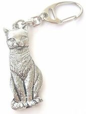 Cat Handcrafted from Solid Pewter In the UK Key Ring